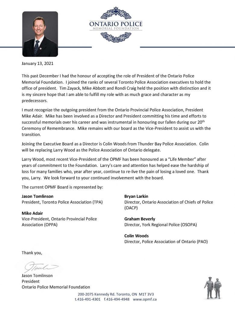 2021.01.13 OPMF Acknowledgment Letter website 780x1024 Jason Tomlinson Named President of Ontario Police Memorial Foundation
