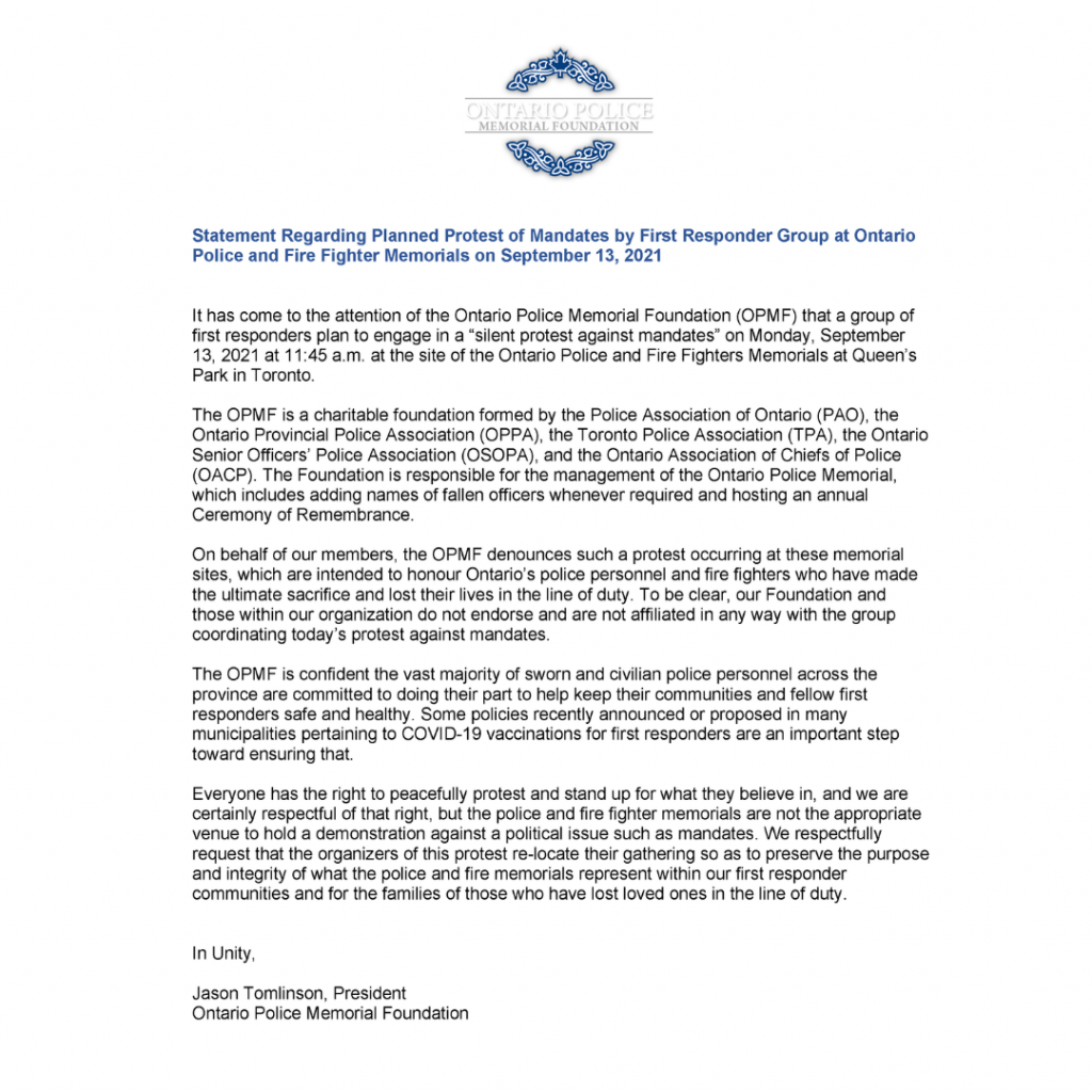 OPMFStatementMandateProtestSQUARE 1024x1024 Statement Regarding Planned Protest of Mandates by First Responder Group at Ontario Police and Fire Fighter Memorials on September 13, 2021